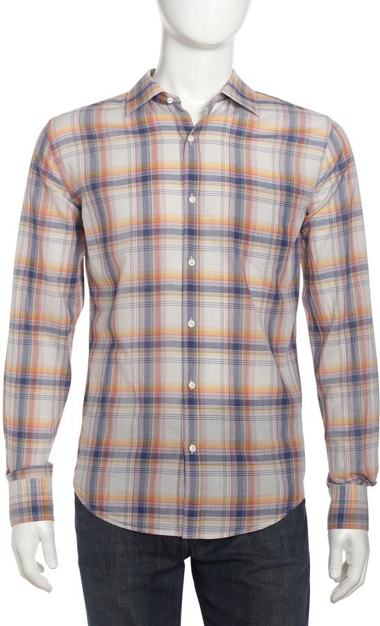Vince Plaid Point-Collar Sport Shirt, Beige