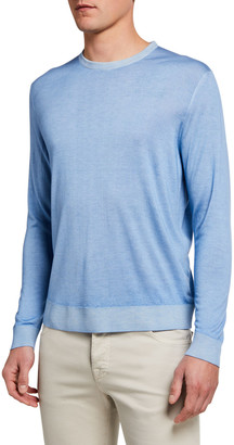 Kiton Men's Washed Cashmere-Cotton Sweater