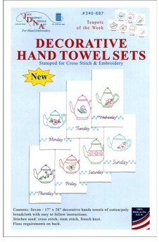 """Jack Dempsey Stamped White Decorative Hand Towels, 17"""" x 28"""", Set Of 7"""