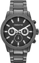 Claiborne Mens Textured Bezel Gunmetal Watch