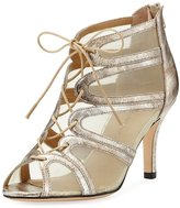 Neiman Marcus Palmyra Mesh Metallic Sandal, Platino