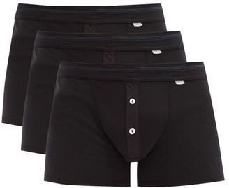 Schiesser Pack Of Three Karl-heinz Cotton Boxer Briefs - Black