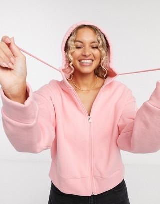 Topshop zip through hoodie in pink