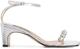 Sergio Rossi Snakeskin-Effect Embellished Sandals