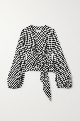 Alexandre Vauthier Polka-dot Silk-blend Satin Wrap Blouse - White