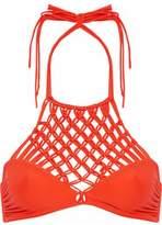 Mikoh Lanikai Macramé-Paneled Halterneck Bikini Top