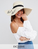 South Beach Straw Floppy Hat with Beach Babe Slogan