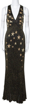Roberto Cavalli Black & Gold Star Lurex Rib Knit Sleeveless Gown M