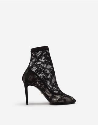 Dolce & Gabbana Stretch Lace And Gros Grain Bette Booties