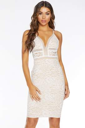 Quiz Cream And Nude Lace V Front Midi Dress