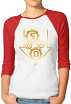 GWJEP System Of A Down Band Gold Logo Women 3/4 Sleeve T-shirt Cotton