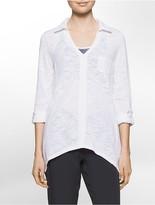 Calvin Klein Performance Sharkbite Hem Long Sleeve Pullover Top