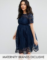Chi Chi Maternity Chi Chi London Maternity Cap Sleeve Lace Dress With Cutwork Hem
