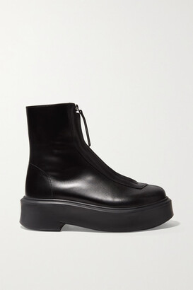 The Row Leather Ankle Boots - Black
