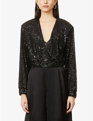 Rotate by Birger Christensen Judy padded-shoulder cropped sequinned jacket