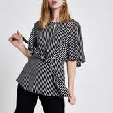 River Island Womens Black short sleeve stripe tie front blouse