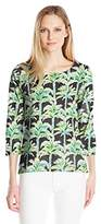 Caribbean Joe Women's Petite Palm Printed Slub Jersey Long Sleeve Scoop Neck Tunic with Button Side Slits