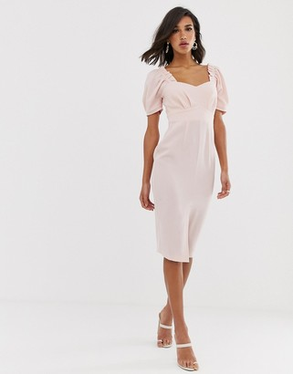 ASOS DESIGN midi pencil dress with sweetheart neckline