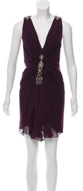 Azzaro Embellished Wool Dress Purple Embellished Wool Dress