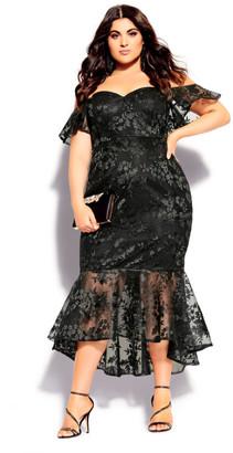 City Chic Lace Aflutter Dress - black