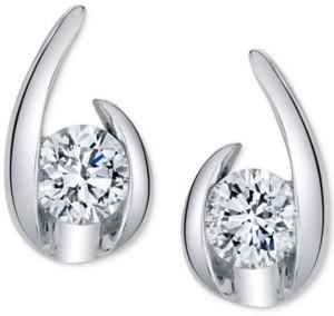 Sirena Diamond Curve Stud Earrings (1/5 ct. t.w.) in 14k White Gold