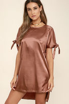 Glamorous You Were Meant For Me Rusty Rose Satin Shift Dress