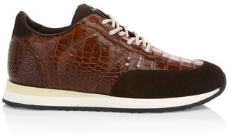 Giuseppe Zanotti Braky Crocodile-Embossed Leather Runners