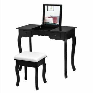 Charlton Homeâ® Maderia Vanity Set with Stool and Mirror Charlton HomeA Color: Black