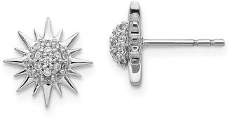 14K White Gold 0.192ct. Diamond 11mm Fancy Sun Earrings by Versil