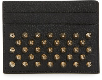 Christian Louboutin Empire Spikes Calfskin Leather Card Case