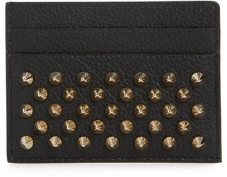 Christian Louboutin Empire Spikes Calfskin Leather Card Case