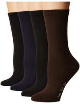 Hue Flat Knit Socks w/ Pique Welt 4-Pack
