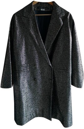 Les Prairies de Paris Silver Wool Coat for Women