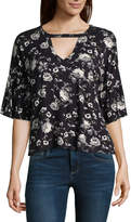 EYESHADOW GIRLS Eyeshadow Long Sleeve V Neck Jersey Floral Blouse-Juniors