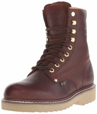 AdTec Ad Tec Mens 8 Inch Farm Work Boot Full Grain Oil Resistant Leather Upper with Plain Soft Toe Speed Lace up Vamp and Padded Collar Non Slip Rubber Sole Utility Footwear Boot for Men