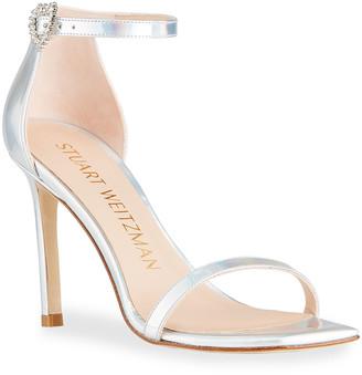 Stuart Weitzman Amelina Iridescent Crystal-Buckle Stiletto Sandals