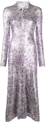 Paco Rabanne Metallic Floral-Print Shirt Dress