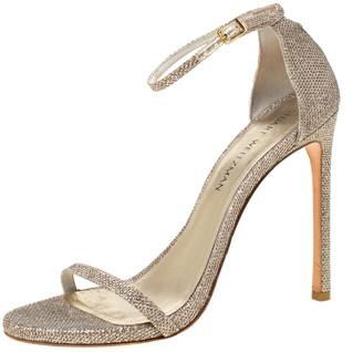 Stuart Weitzman Metallic Champagne Lame Fabric Ankle Strap Open Toe Sandals Size 40