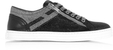 Hogan Black and Silver Glittered Canvas Low Top Sneakers
