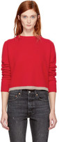 The Elder Statesman Red Cropped Cashmere Simple Line Sweater