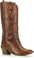 Leather appliqué cowboy boots