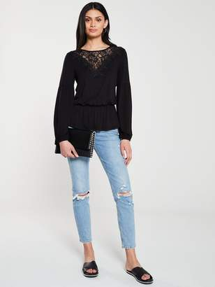 Very Lace Trim Elasticated Waist Top - Black