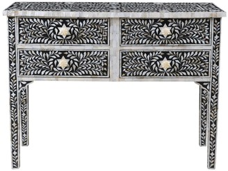 Mother of Pearl Janiki Inlay 4 Drawer Console
