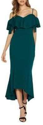 Quiz Ruffled High-Low Cold-Shoulder Midi Dress
