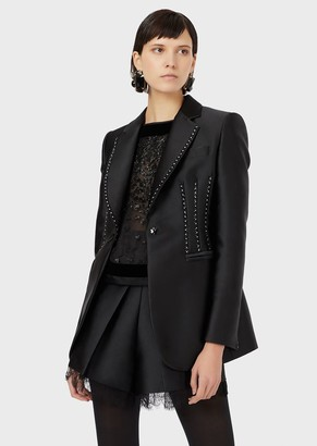 Emporio Armani Single-Breasted Jacket In Duchesse Satin With Veining And Rhinestones