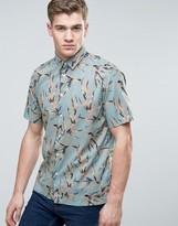 Jack and Jones Originals Short Sleeve Shirt in Regular Fit All Over Leaf Print