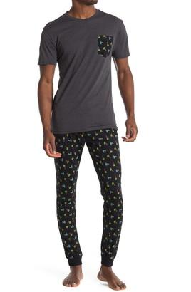 Hawke & Co Short Sleeve Print Luxe T-Shirt & Joggers Pajama 2-Piece Set