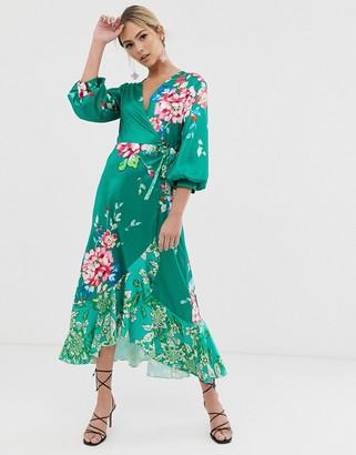 Liquorish wrap front midi tea dress in green floral print