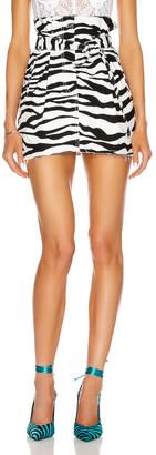 ATTICO Zebra Print Mini Skirt in White & Black | FWRD