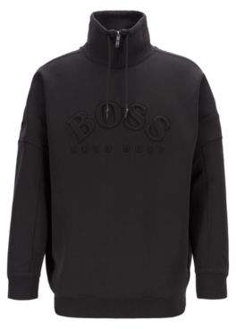 BOSS Relaxed-fit sweatshirt with curved logo and drawstring collar
